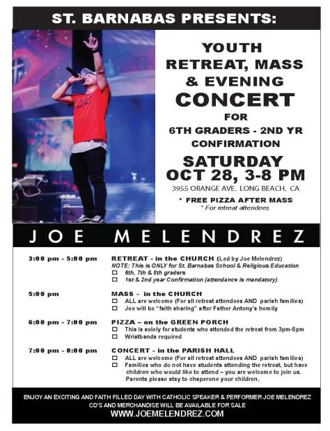 JOE MELENDREZ - ST. BARNABAS, FLYER WITH SCHEDULE, 8.5 x 11