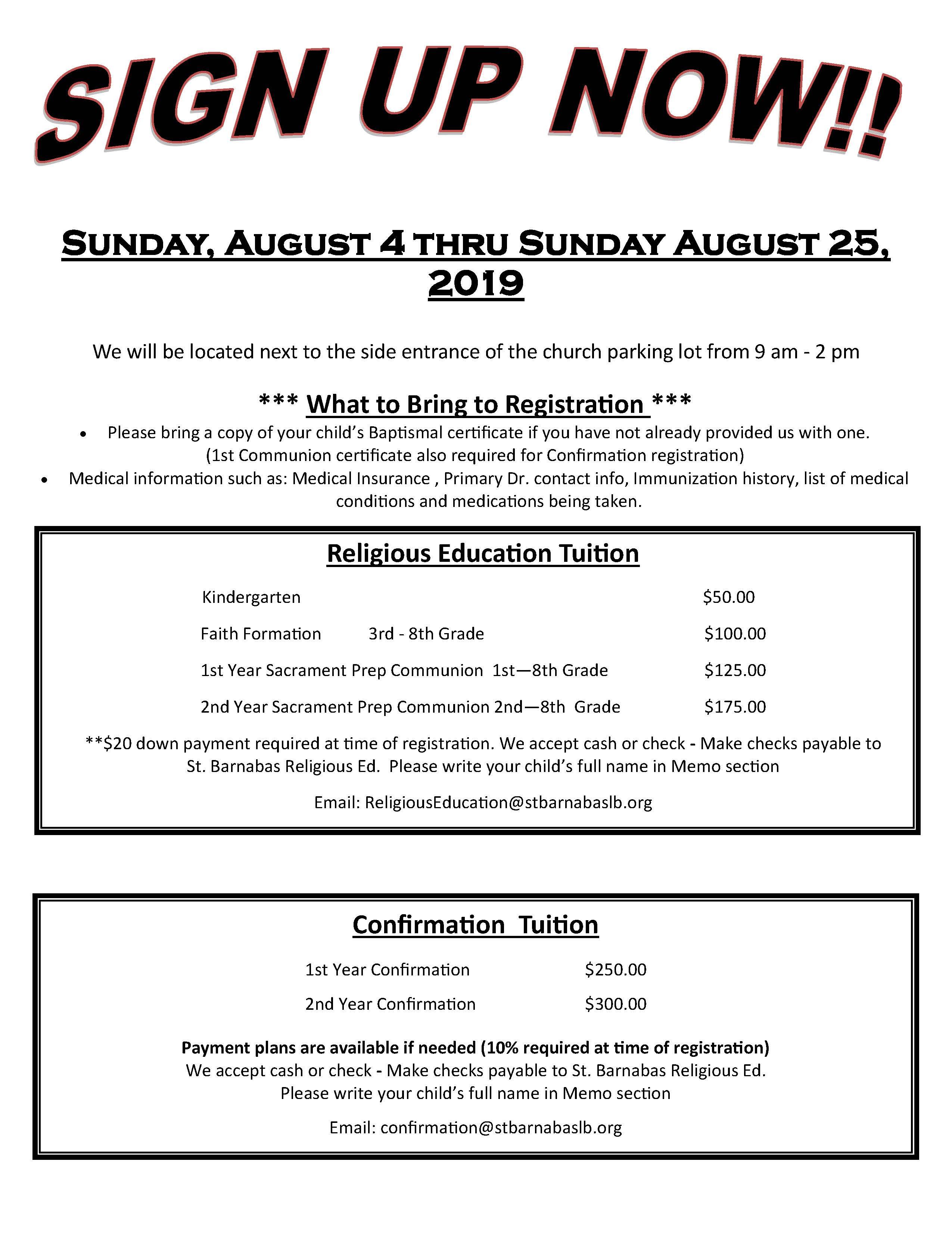 Program Info – Registration | St  Barnabas Church
