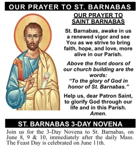 3-Day Novena & Feast Day to St. Barnabas!